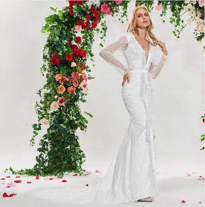 CW132 Ivory long sleeves V neck feather mermaid wedding dress