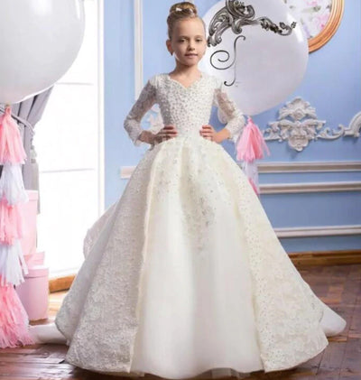 FG60 Gorgeous Long Sleeves with Pearls Pageant Girls Dress