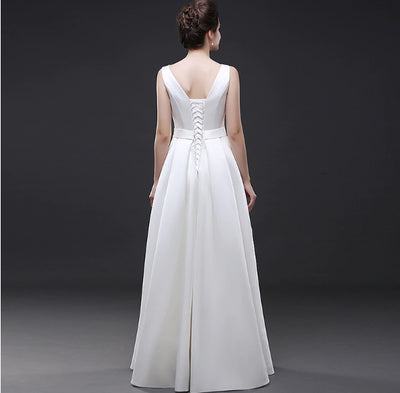 CW136 Simple A-line beach Wedding Dresses with pocket
