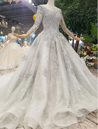 HW23 Grey Long Sleeve crystal beaded Wedding Gown with matching veil