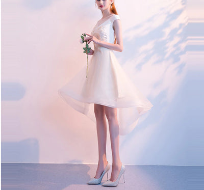 BH76 Champagne Flower Embroidery Hi lo Bridesmaid Dresses