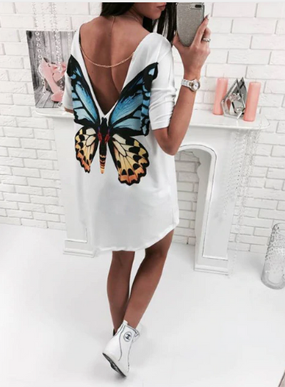 TJ10 Fashion V neck back with Cat/ Butterfly Print Tops