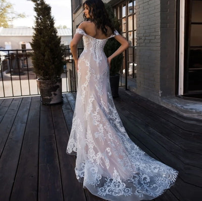 CW139 Off the Shoulder Applique Lace Mermaid Wedding Gowns