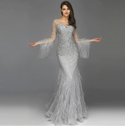 Luxury Long Sleeve beaded Feathers Evening Gown (3 Colors)