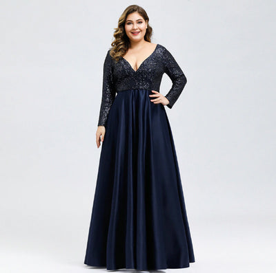 Plus Size Sequined Deep V-Neck Long Sleeve Evening Dresses(2 Colors)