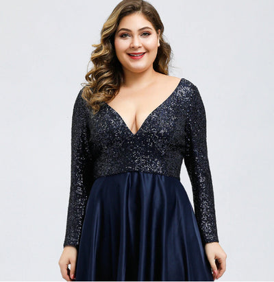 PP231 Plus Size Sequined Deep V-Neck Evening Dresses(2 Colors)