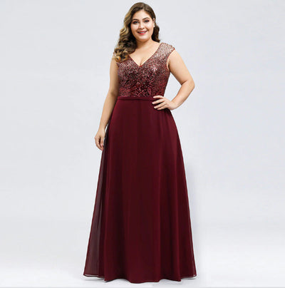 PP233 Plus Size  A-Line V-Neck Sequined Evening Dresses(2 Colors)