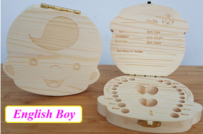 Wooden Box Tooth Box Organizer Save Milk Teeth Box Storage Teeth Gift