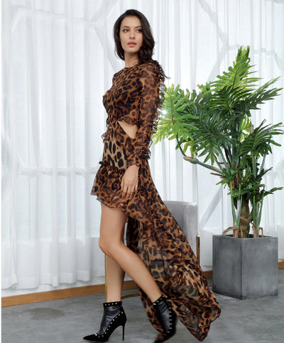 MX209 Open Back Leopard Chiffon Hi lo Dress