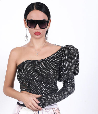 TJ51 Sexy One Shoulder sequins Tops