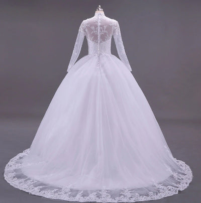 CW144 Real Photo stand Collar Long Sleeves  Wedding Dress