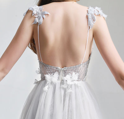 PP156 Sexy White V-neck Backless Lace Evening Dress