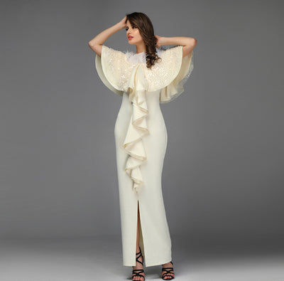 PP235 Classy Ivory  Feathers Evening Dress