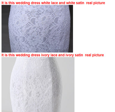SS44 Simple strapless lace Bodycon short wedding dress