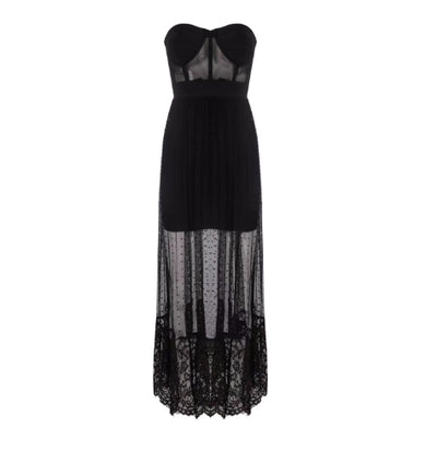 MX133 Sexy Strapless see through  Black Party Dress