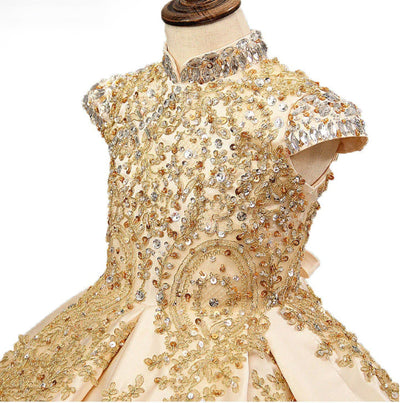FG92 Luxury Gold embroidery Pageant girl dresses