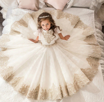 FG94 Gorgeous Ivory Lace Flower Girls Dresses