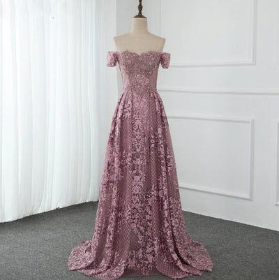 Handmade Pink off the shoulder Evening Gowns with overskirt