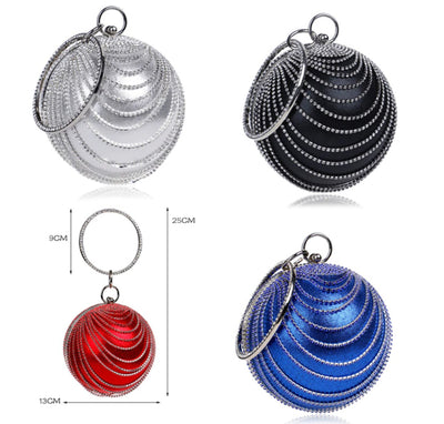 CB50 Circular shape with Tassel Rhinestones Prom Clutch Bags (5Colors)