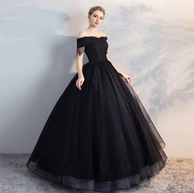 CG64 Black Ball Gown Quinceanera Dress
