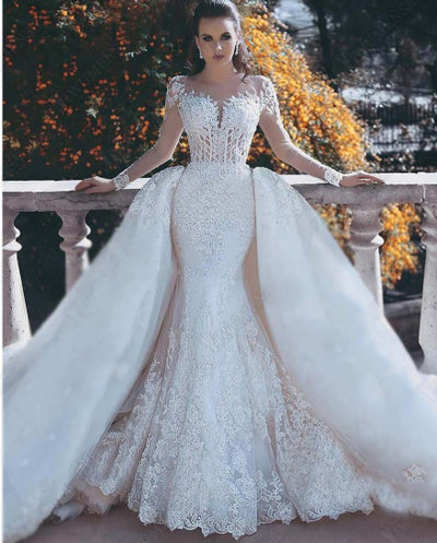 Appliques Long Sleeves mermaid Wedding Gowns with over skirt