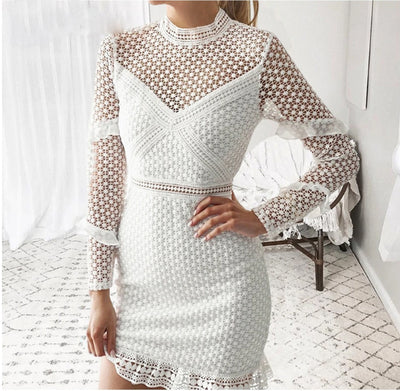 MX48 Summer Long Sleeve Hollow Out Dress (White/Black/Burgundy)