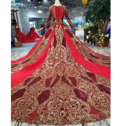CG66Luxury Burgundy Gold embroidery Arabic Wedding Dress
