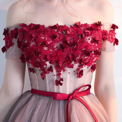 PP18 Off the shoulder red flower Cocktail Dress