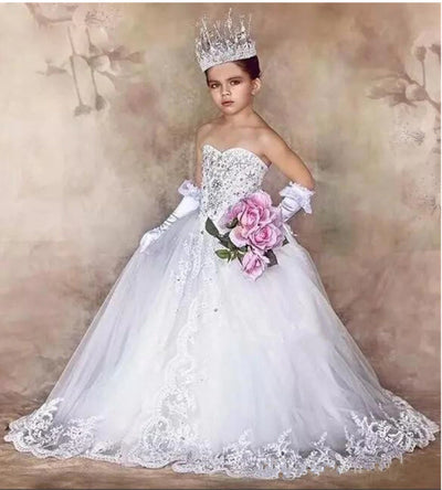 FG106 Luxury Boat neck Flower Girls Dress with long tail