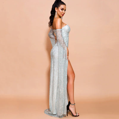 MX206 Silver Off Shoulder Long Sleeve Split Glitter Dress