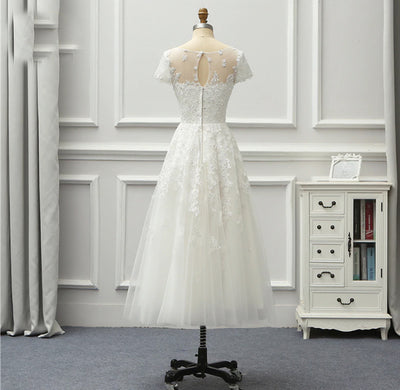 SS50 Simple Short Sleeve Lace Tea Length Beach Wedding Dress
