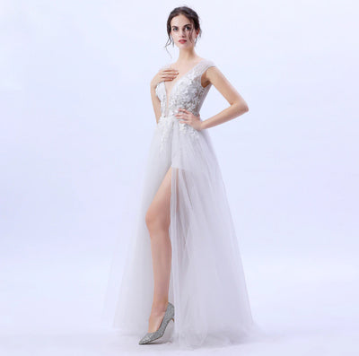White Lace Flower Beading High-split Beach Prom Gown