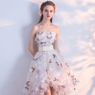 PP29 Strapless Flowers Prom Dresses
