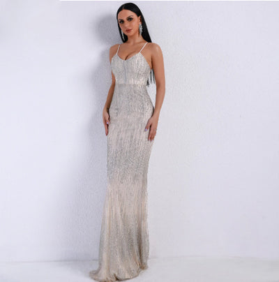 PP208 Simple Sexy Glitter Maxi Dress