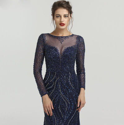 Long Sleeves Crystal Beaded Mermaid Prom Dresses(3Colors)