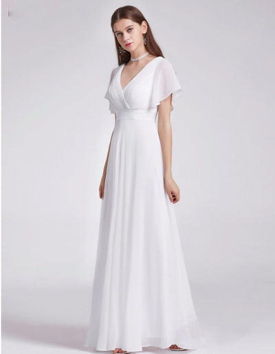 Plus size simple V-neck short flare sleeve beach Wedding Dress
