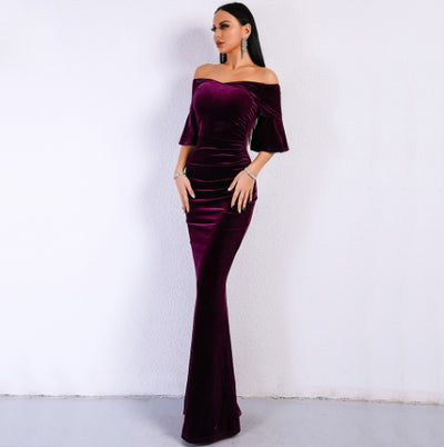 MX172 Sexy Off velvet Purple Shoulder Speaker Sleeves  Party Dress
