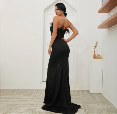MX173 Sexy strapless with feather high split front Party Dress