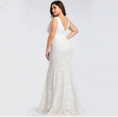 PP180 Plus Size Lace Sleeveless V-neck Prom Dresses(Grey/White)