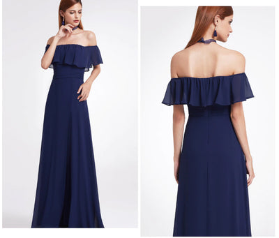 MX17 Summer Off Shoulder Ruffles Maxi Dresses (4 Colors)