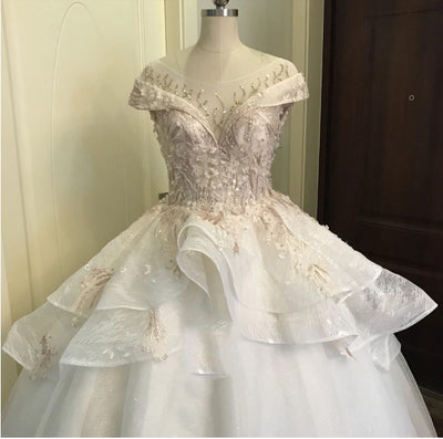 Lace Cap Sleeves Beaded Ball Gown Bridal Gown