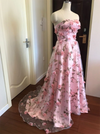 Strapless Pink Flowers Prom Dresses