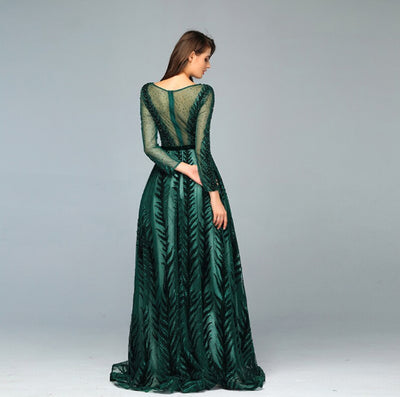Green Long Sleeves beaded A-line Evening Dress