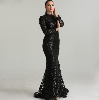 Luxury Muslim mermaid Evening Gown with removable skirt
