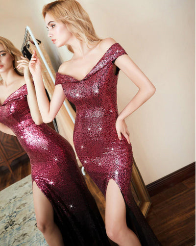 PP52 Red off the shoulder Sequin Prom Dress