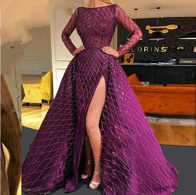 Arabic Purple long Sleeve Evening Dress with overskirt