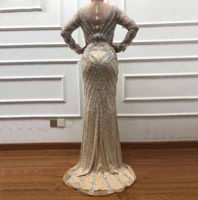Long Sleeves deep v neck tassel Evening Gown
