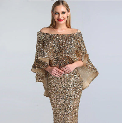Luxury New design Arabic glitter Evening Gowns(Rose Gold/Gold)