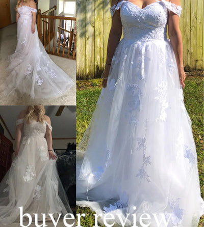 Clearance sale- off the shoulder Boho Wedding Gown+ Veil fress