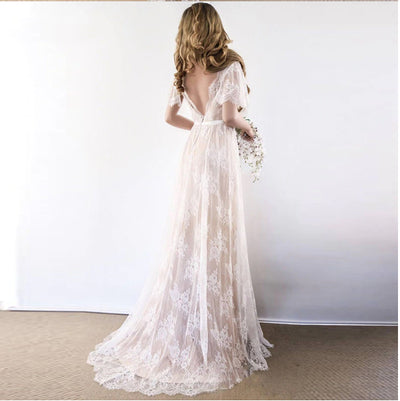 V Neck short Cap Sleeve Lace Boho Wedding Dresses